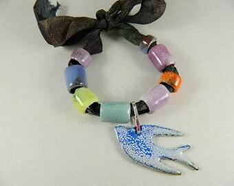 Enameled Tube Beads with Bird Charm Bead Bundle