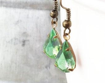 Peridot Green Aurora Borealis Teardrop Earrings, Vintage Rhinestone, Pear Shaped