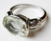 Vintage Ring Jeweled Pale Green Faceted Stone Sterling Silver Cocktail Ring size 8.5