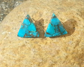 Turquoise Triangle Post Earrings