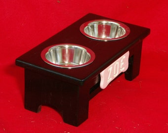 Elevated Dog Feeder Solid Oak Wood 5 Inch High One Pint  FREE NAME and STAIN