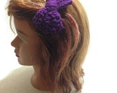 Dark Purple Bow Clip Crochet Bow Hair Clip Purple Hair Accessory