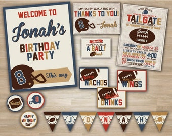 Football Birthday, Shower, Superbowl Party Deluxe Package, Football Invitations, Pennant Banner, Thank you Card, Tailgate Birthday, Shower