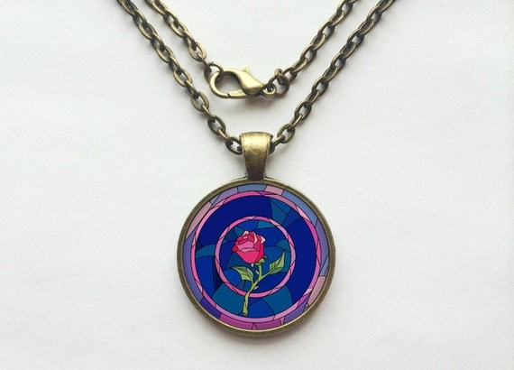 Rose Stained Glass from Beauty and the Beast Necklace