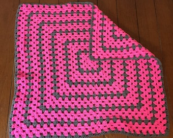 gray & pink baby blanket photo prop granny square crocheted