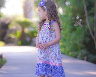 Girls Knot Dress Flutter Collection with Satin Ribbon and Buttons Toddler Infant Girls
