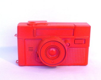 UPCYCLED NEON Vintage CAMERA/ Neon Pink Display Camera