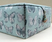 Butterfly fabric jewelry box, decorative storage box or keepsakes box