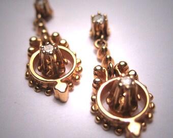 Rare Antique Victorian Diamond Earrings 14K Gold Vintage Dangle Drop