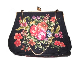 ON SALE Vintage Petit Point Needlepoint Purse Bag Antique Floral Rose Pattern Multicolor Handmade