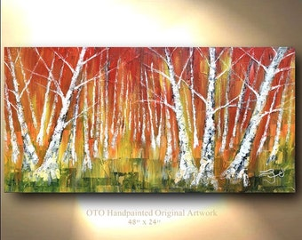 ORIGINAL Painting Green red yellow orange Oil Painting Forest Art Birch Aspen Tree Abstract Texture decor Artwork Fine art Oil canvas by OTO