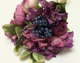 Artificial Flowers - Mini Bouquet in Shades of Mauve Purple - Wedding Bouquet, Silk Flowers, Flower Crown