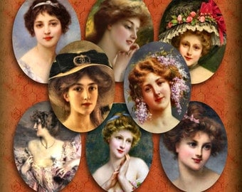 Victorian Women Portraits 30 x 40 mm Ovals Steampunk Grunge Instant Download Printable Digital Collage Pendant Images Magnets