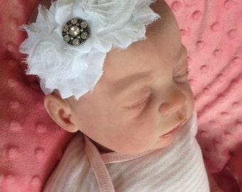White Frilly Headband Infant to Adult sizes