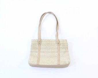 VINTAGE 1980s Beige Tapestry Purse Shoulder Bag