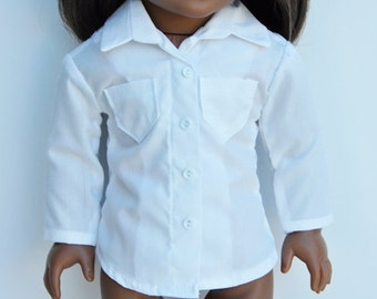 AG Doll Clothes - White, Button Down, Button Up, Shirt, Top, Separates