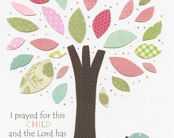 Owl Nursery Art Print - Nursery Collage, hayley, owl tree, nursery tree, pink and green BABY BIRD, baby girl, girl room art decor, hayley