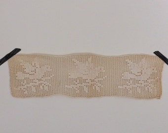 Vintage Crocheted Lace Doily Three Birds