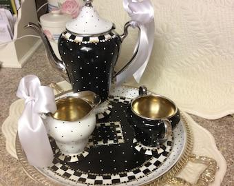 SALE/Vintage silver plated tea set/custom painted