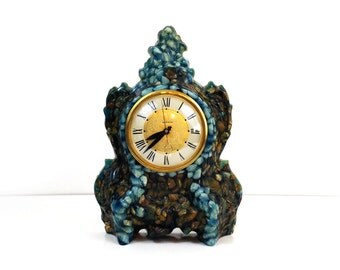 Vintage Lanshire rock & resin mantle clock