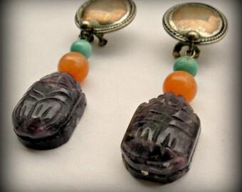 Amethyst Scarab Earrings