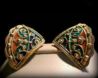 Colorful Fan Shaped Earrings