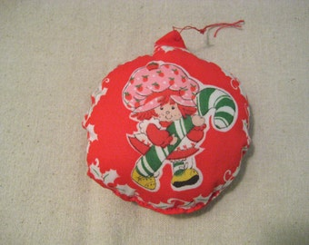 Vintage Strawberry Shortcake With Candy Cane Hand Sewn Christmas Ornament