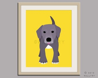 Blue Lacy dog puppy dog nursery decor. Dog nursery print. Art for children, kids decor. Custom dog art kids. Art print by WallFry