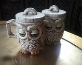 Vintage Owl creamer and sugar set