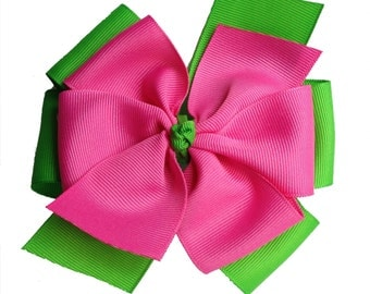 Green Pink Hair Bow - Apple Green and Hot Pink Extra Large Layered Pinwheel Bow - Pink and Green Bow - Lilly Pulitzer Inspired