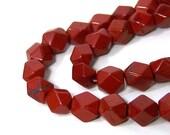 faceted gemstone beads, red jasper, 8mm - 10mm  tumbled pebbles, full strand (559S)