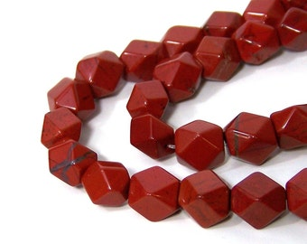 faceted red jasper, 8mm - 10mm  tumbled pebble gemstone beads, full and half strands available  (559S)