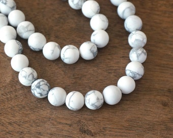 8mm matte howlite beads, round bead, natural white gemstone, full & half strands available  (1124S)
