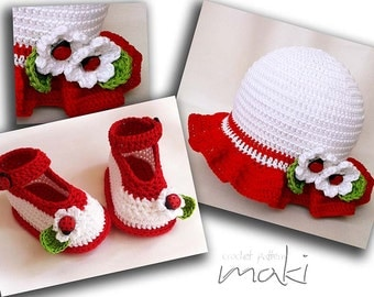 Crochet pattern - Red Ladybug baby set hat with booties. Permission to sell finished items.