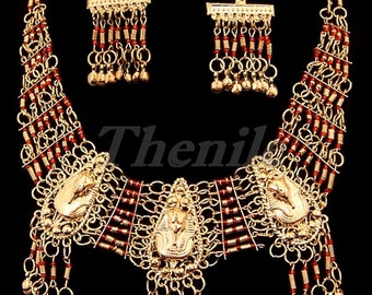 EGYPTIAN Red NECKLACE & EARRINGS With King Tut on