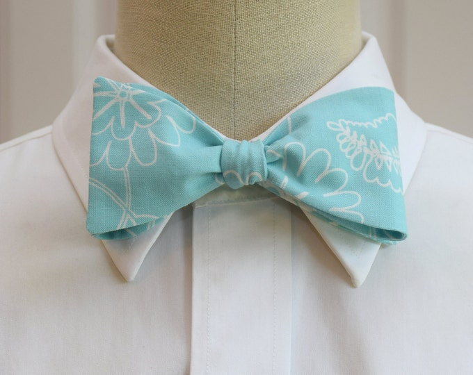 Men's Bow Tie, aqua with white floral motif, wedding party bow tie, groom bow tie, aqua floral bow tie, pastel bow tie, sea foam bow tie
