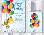 Giraffe Balloons and Confetti Invitation