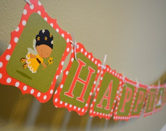 Fairy Happy Birthday Banner - African American, Blonde Hair, or Brunette Fairy - Olive Green, Coral Pink Polkadots, and Toadstool Mushrooms