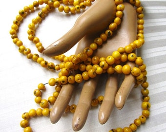 Vintage African Yellow Beads Seeds Berries Ethnic Necklace Extra Long Necklace