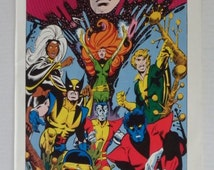 Original 1978 Marvel Comics Uncanny X-Men poster pin-up 1 with art by Dave Cockrum: 1970's Wolverine, Cyclops, Colossus, Nightcrawler, Storm