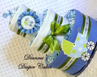 Baby Diaper Cake Boys Blue Shower Gift or Centerpiece