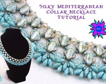 Silky Diamond Collar Necklace Tutorial, Two Hole Diamonds and SuperDuo Pattern, PDF Beadweaving Instructions,