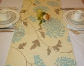 """Retro Duck Egg Blue Table Runner Brown Floral Funky Coffee/ Console Table Cotton Fabric(54"""" 137cm)"""