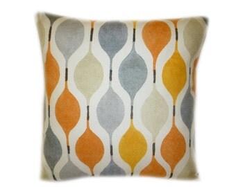 "Orange Designer Pillow Cushion Cover Geometric Throw Scatter Pillow. ONE x 16"" (40cm)"