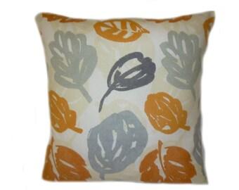 "22"" Big Pillow Orange Grey Floral Leaf Designer Cotton Cushion Cover. Pillowcase Sham Slip Euro Pillow"