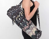 Yoga Mat Bag in Black Floral with a Zipper Pocket Inside- Free Shipping