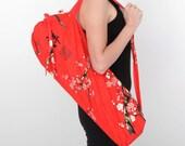 Yoga Mat Bag / Pilates Mat Carrier / Hot Yoga / Drawstring Top / Zipper Pocket/ Red Cherry Blossom- Free Shipping