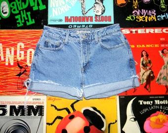 Vintage 90s Distressed Stone Washed Denim Shorts - Frayed, Rolled Up, Blue Denim Z CAVARICCI Jean Cut Offs Size 6 Small S Medium M
