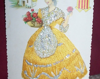 Vintage SIlk Embroidered Postcard-Valencia Spain-Lady in Yellow with Roses-Unused