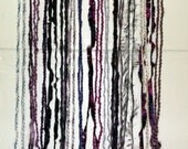 Yarn Art Wall Hanging, Bohemian Home Decor, Dark Purple on Natural Birch Twig Stick Section, Bold Statement Piece for Wall Art Boho Hippie